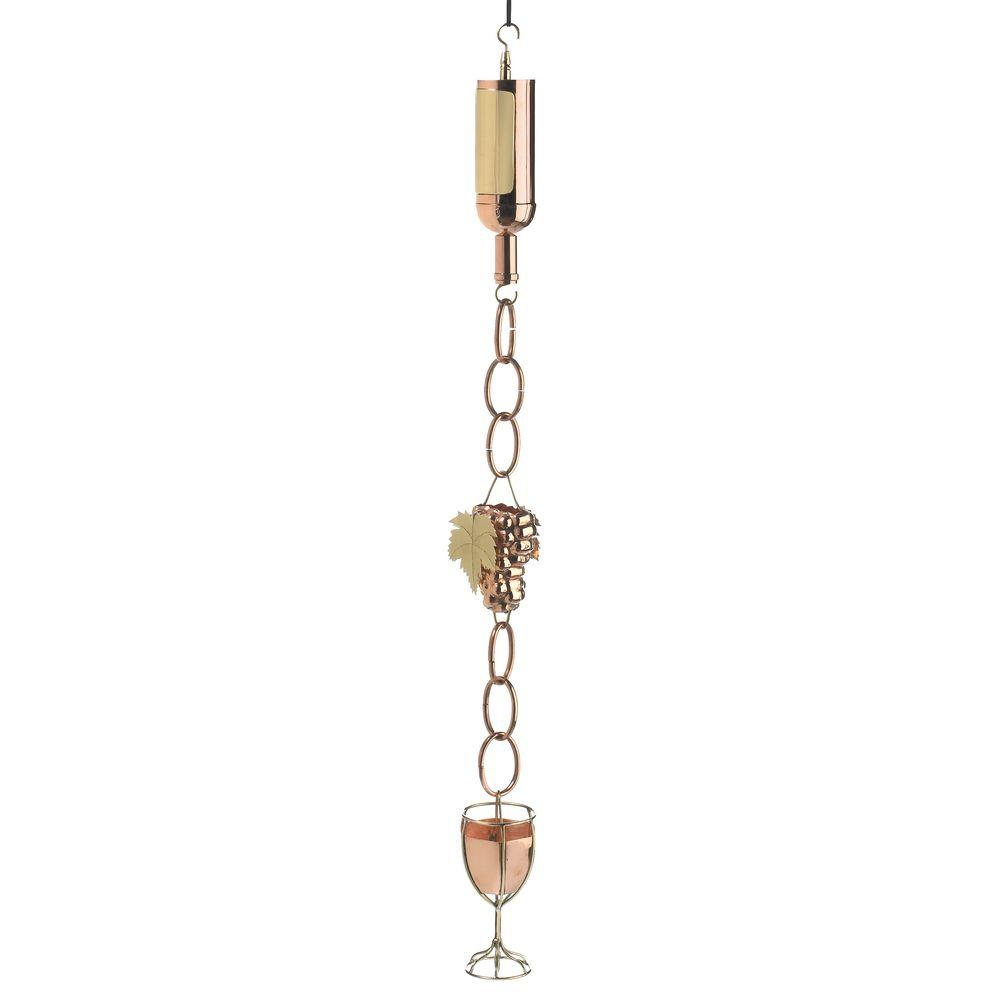 Good Directions Wine Bottle with Grapes and Glasses Rain Chain