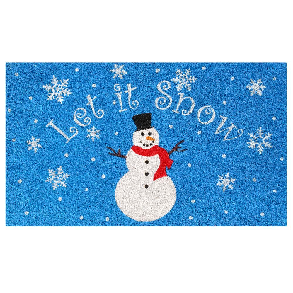 Let It Snow 17 in. x 29 in. Coir Door Mat