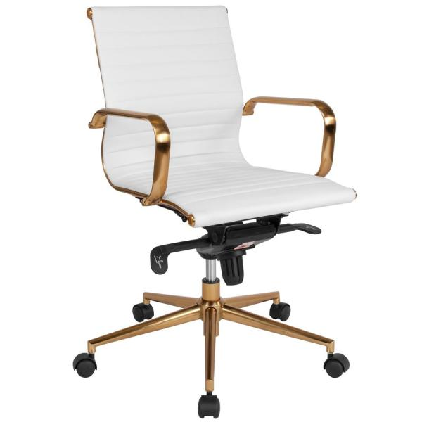 Flash Furniture White Leather/Gold Frame Office/Desk Chair CGA-BT-239683-WH-HD