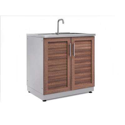 Natural Cherry 32 in. Sink 32 in. W x 36.5 in. H x 24 in. D Outdoor Kitchen Cabinet