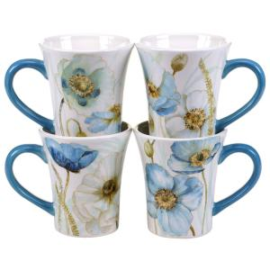 The Greenhouse Poppies14 oz. Mug (Set of 4) by