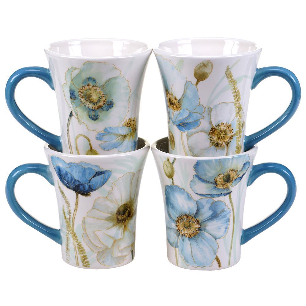 The Greenhouse Poppies14 oz. Mug (Set of 4)