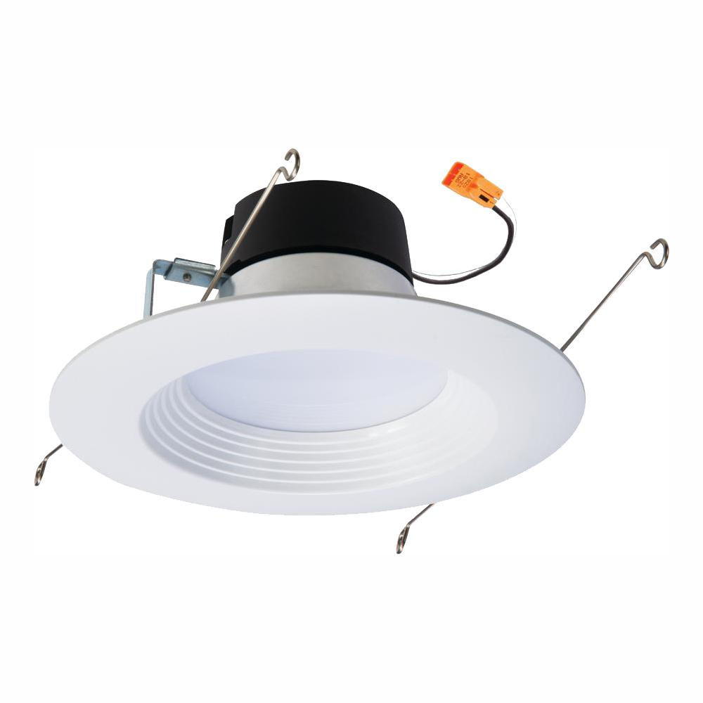 Halo lt 5 in and 6 in white integrated led recessed ceiling light retrofit trim at 5000k daylight