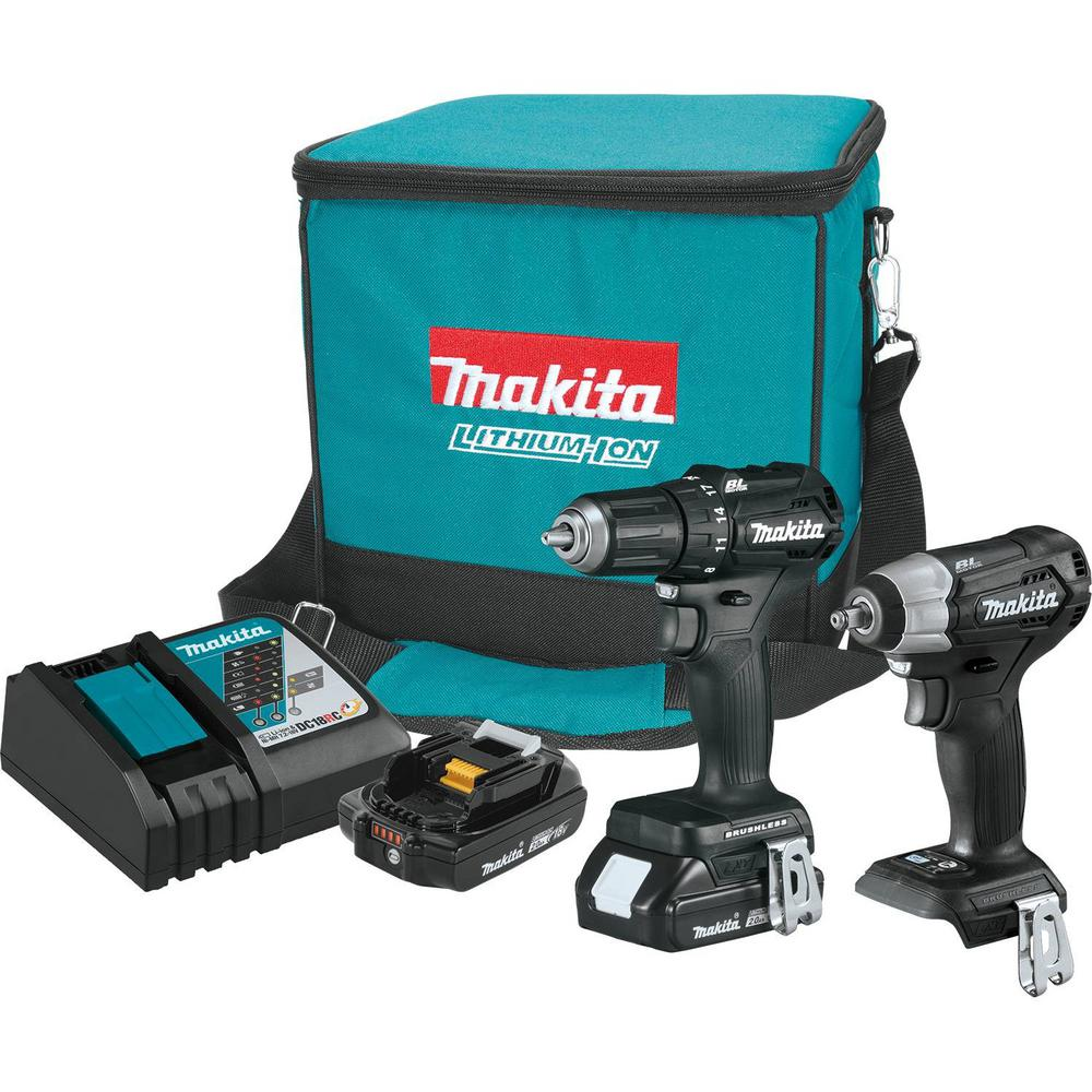 Makita 18-Volt LXT Lithium-Ion Sub-Compact Brushless Cordless 2-Piece Combo Kit (Driver-Drill/Impact Wrench) 2.0 Ah