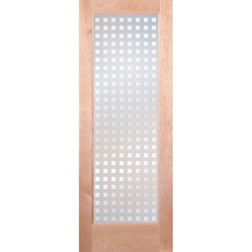 Feather River Doors 28 in. x 80 in. Multicube Woodgrain 1 Lite Unfinished Maple Interior Door Slab