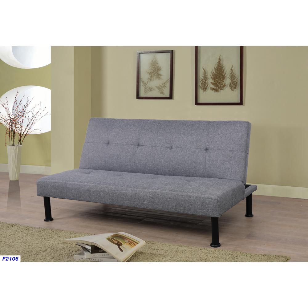 Gray Linen Futon Convertible Sofa
