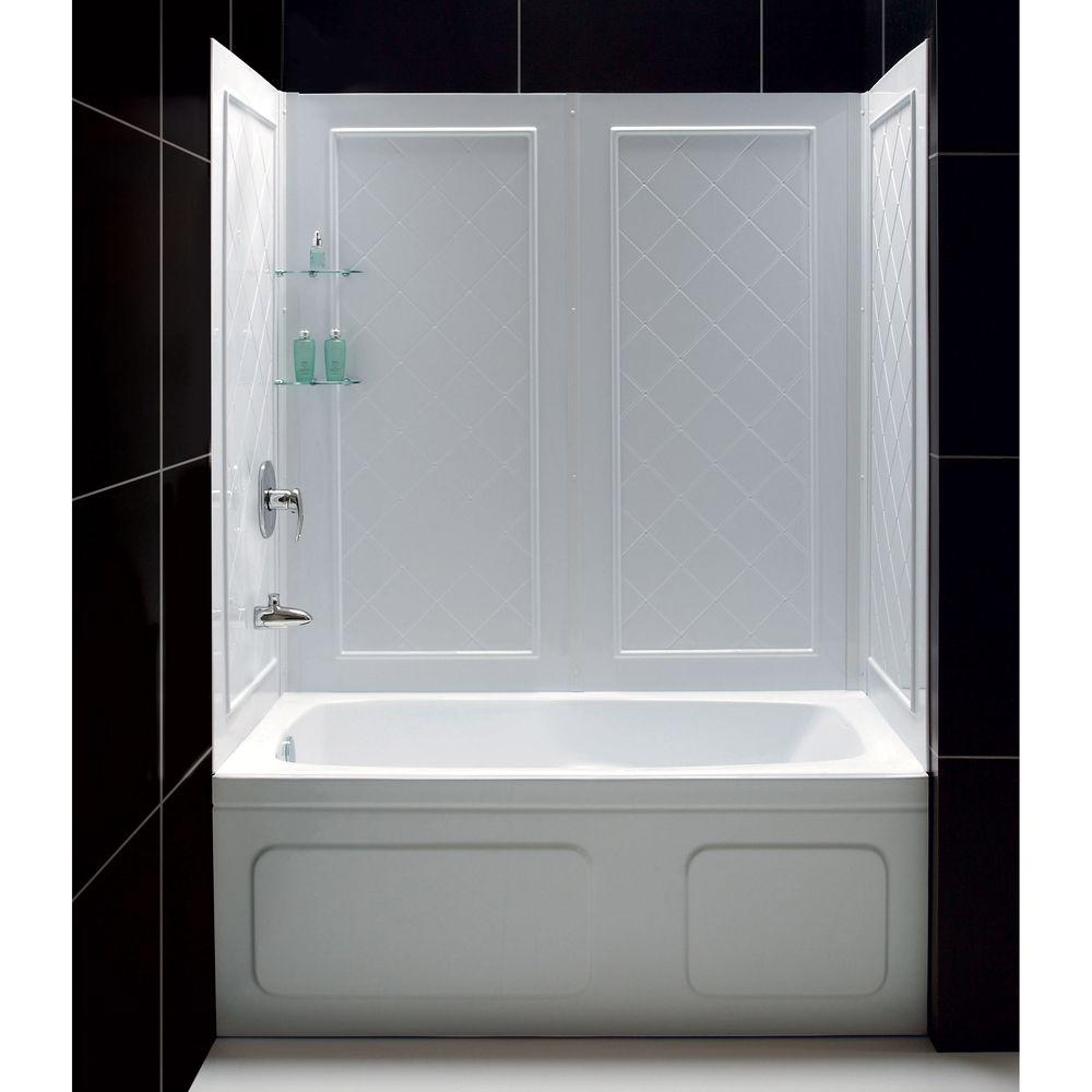 two piece shower tub unit. QWALL Tub 28 32 in  D x 56 to 60 W Bathtub Walls Surrounds Bathtubs The Home Depot