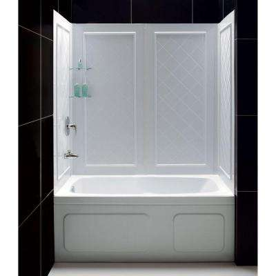 QWALL-Tub 28-32 in. D x 56 to 60 in. W x 60 in. H 4-Piece Easy Up Adhesive Tub Surround in White