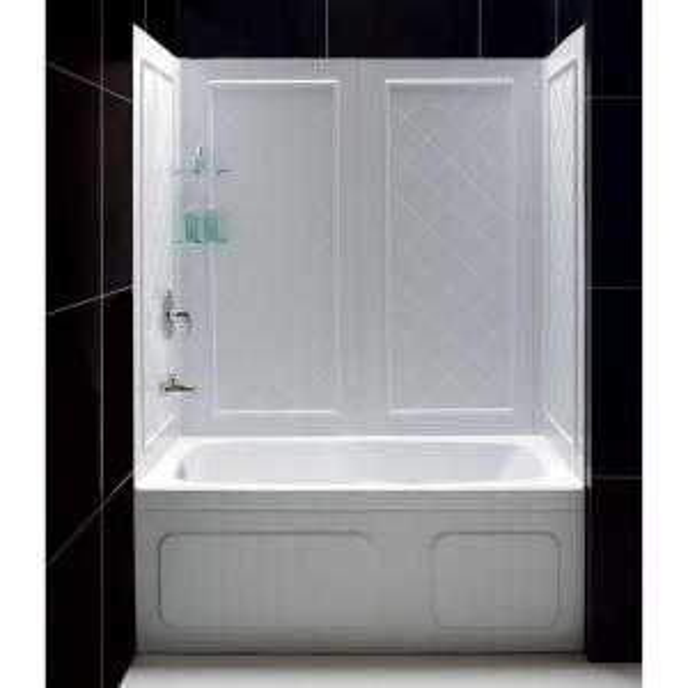 QWALL-Tub 28-32 in. D x 56 to 60 in. W x 60 in. H 4-Piece Easy Up Adhesive Tub Surround in White