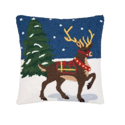 Snow Reindeer Blue Pillow 18 in. x 18 in.
