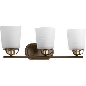 West Village Collection 3-Light Antique Bronze Bathroom Vanity Light with Glass Shades