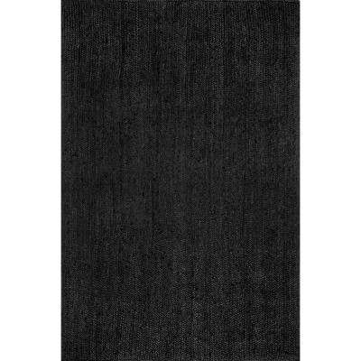Rigo Chunky Loop Jute Black 6 ft. x 9 ft. Area Rug