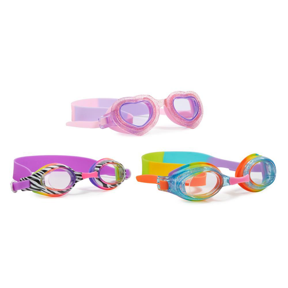 AQUA2UDE Round Smile Goggle (3-Pack), Pink/Zebra/Rainbow