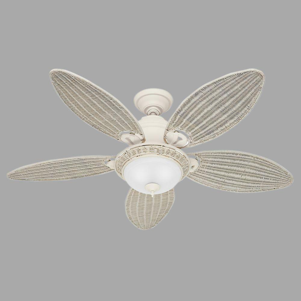 Hunter caribbean breeze 54 in indoor textured white ceiling fan hunter caribbean breeze 54 in indoor textured white ceiling fan with light kit 54094 the home depot mozeypictures Image collections