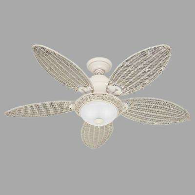 Caribbean Breeze 54 in. Indoor Textured White Ceiling Fan with Light Kit