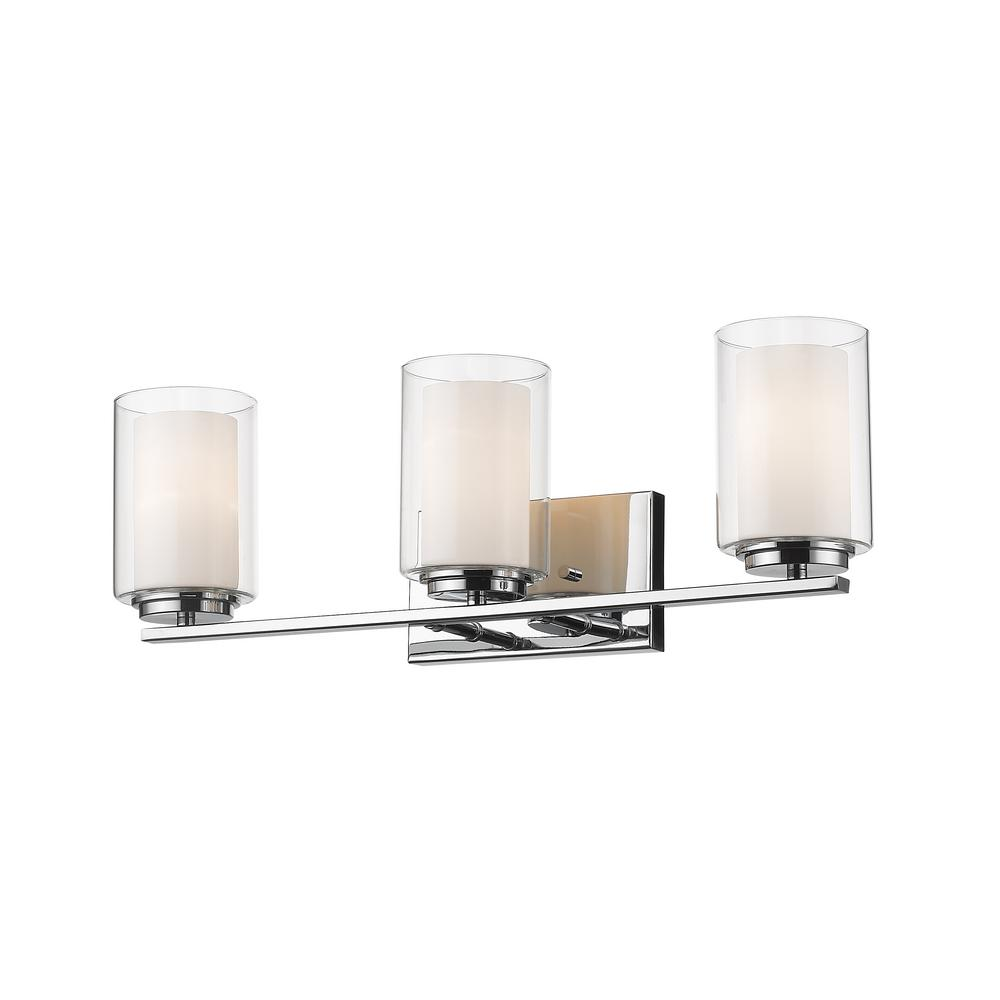 Filament design lara 3 light chrome bath light with clear and matte opal glass shade