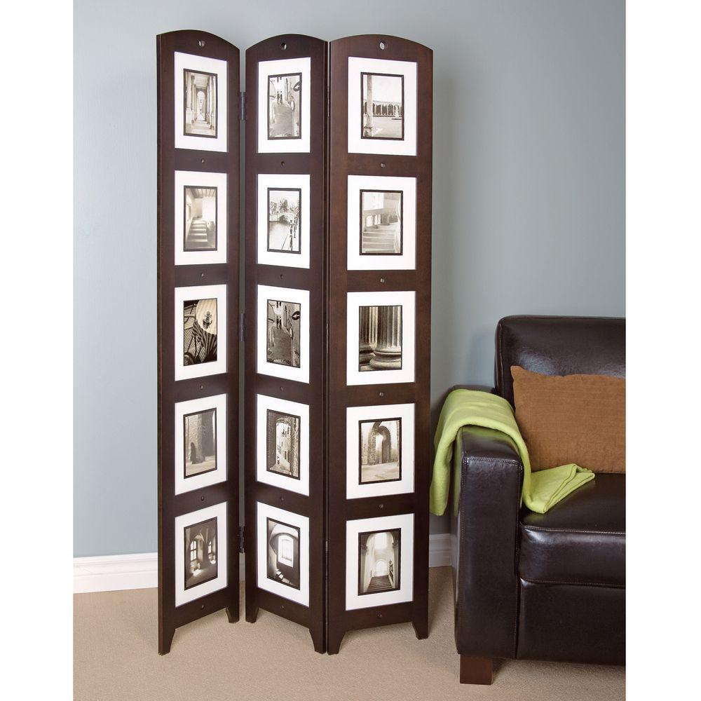 5.4 ft. Espresso (Brown) 3-Panel Room Divider
