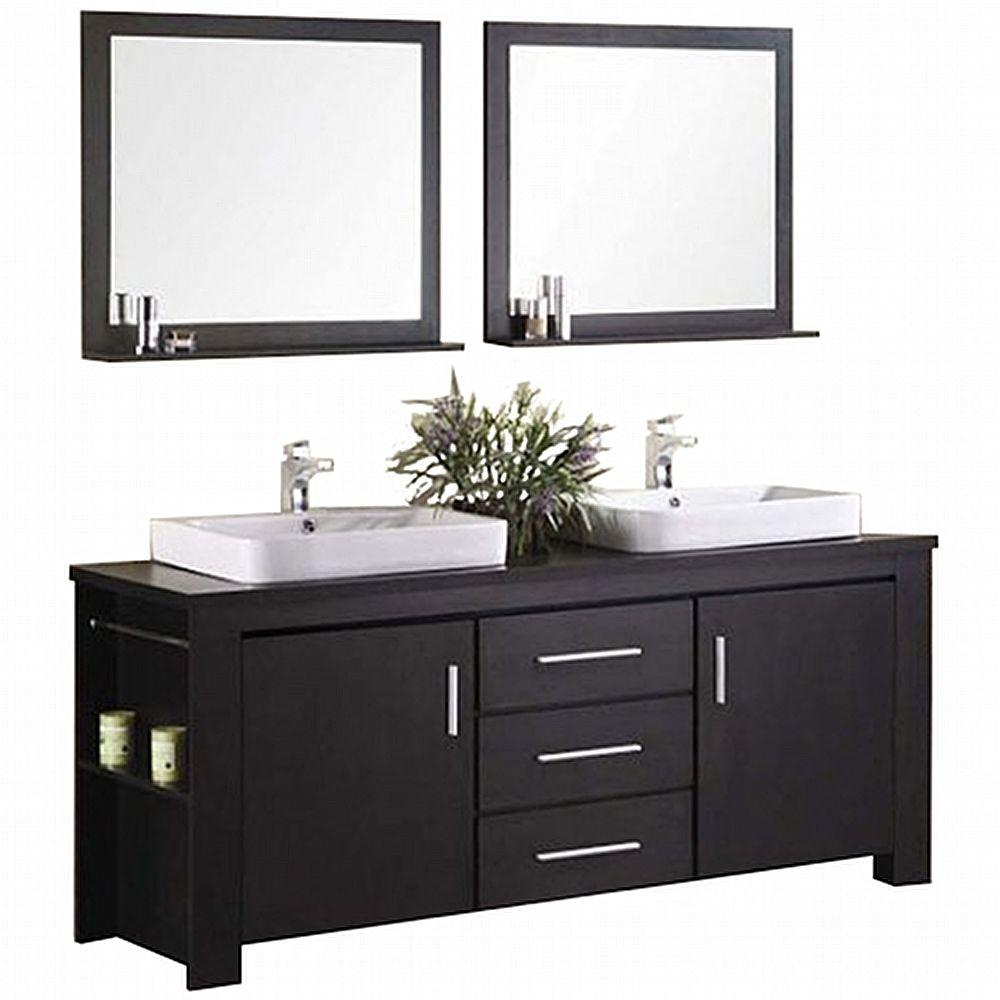 Design Element Washington 72 In. W X 22 In. D Vanity In Espresso With Wood Vanity Top And Mirror