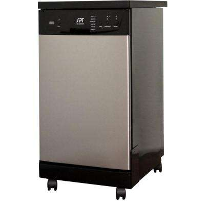 18 in. Front Control Portable Dishwasher in Stainless Steel with 8 Place Settings Capacity