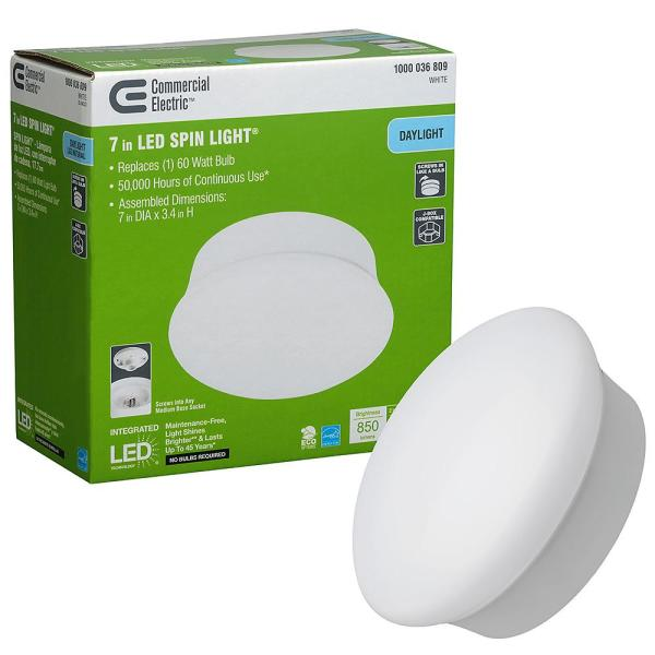 Commercial Electric Spin Light 7 In Led Flush Mount Ceiling Light 850 Lumens 11 5 Watts 5000k Daylight No Bulbs Needed 54483161 The Home Depot