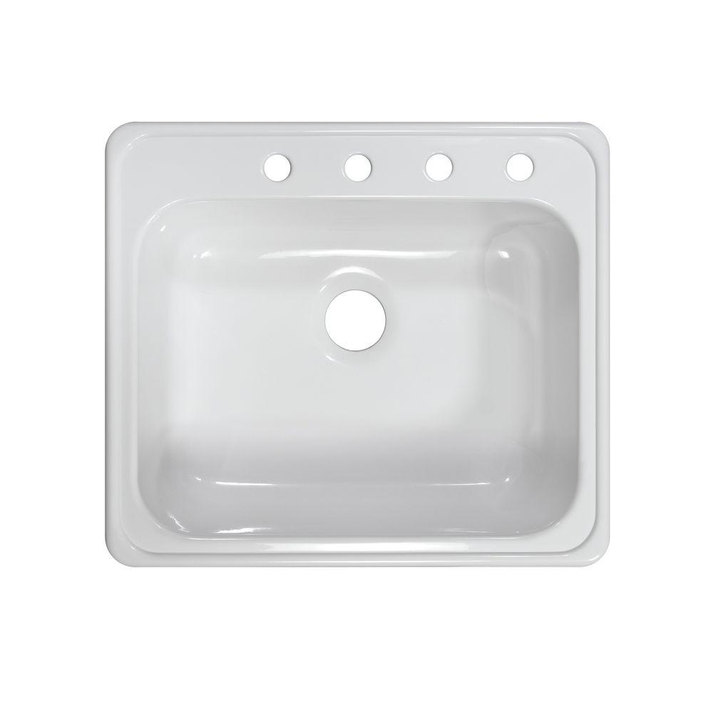 Lyons Industries Style X Drop-In Acrylic 25x22x9 in. 4-Hole Single Bowl Kitchen Sink in White