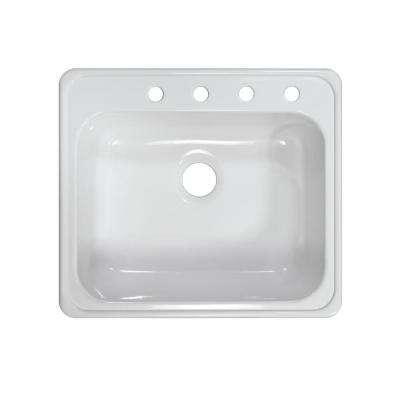 Style X Drop-In Acrylic 25x22x9 in. 4-Hole Single Basin Kitchen Sink in White