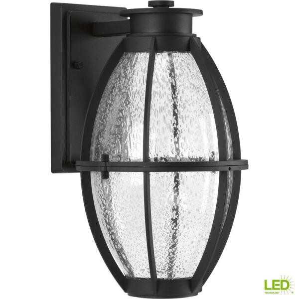 Pier 33 Collection 9-Watt 13 in. Outdoor Black Integrated LED Wall Lantern Sconce