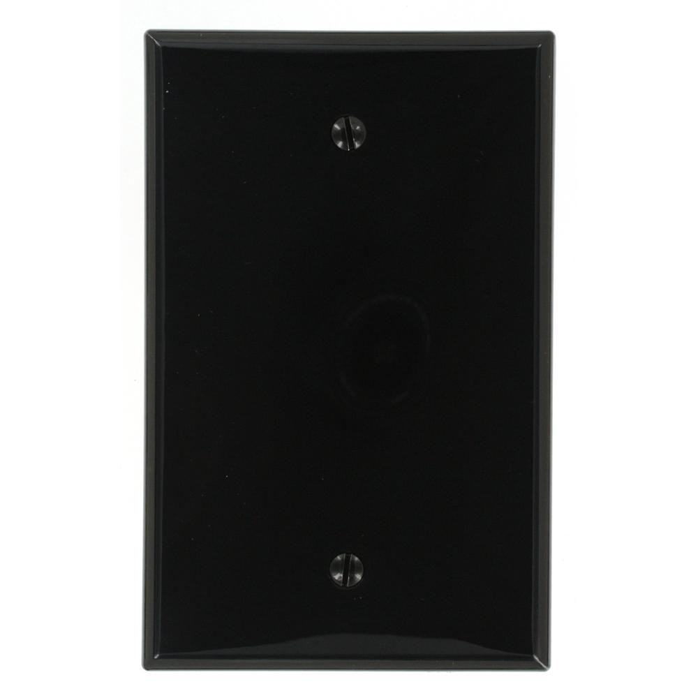 1-Gang No Device Blank Wallplate, Midway Size, Thermoplastic Nylon, Box Mount,