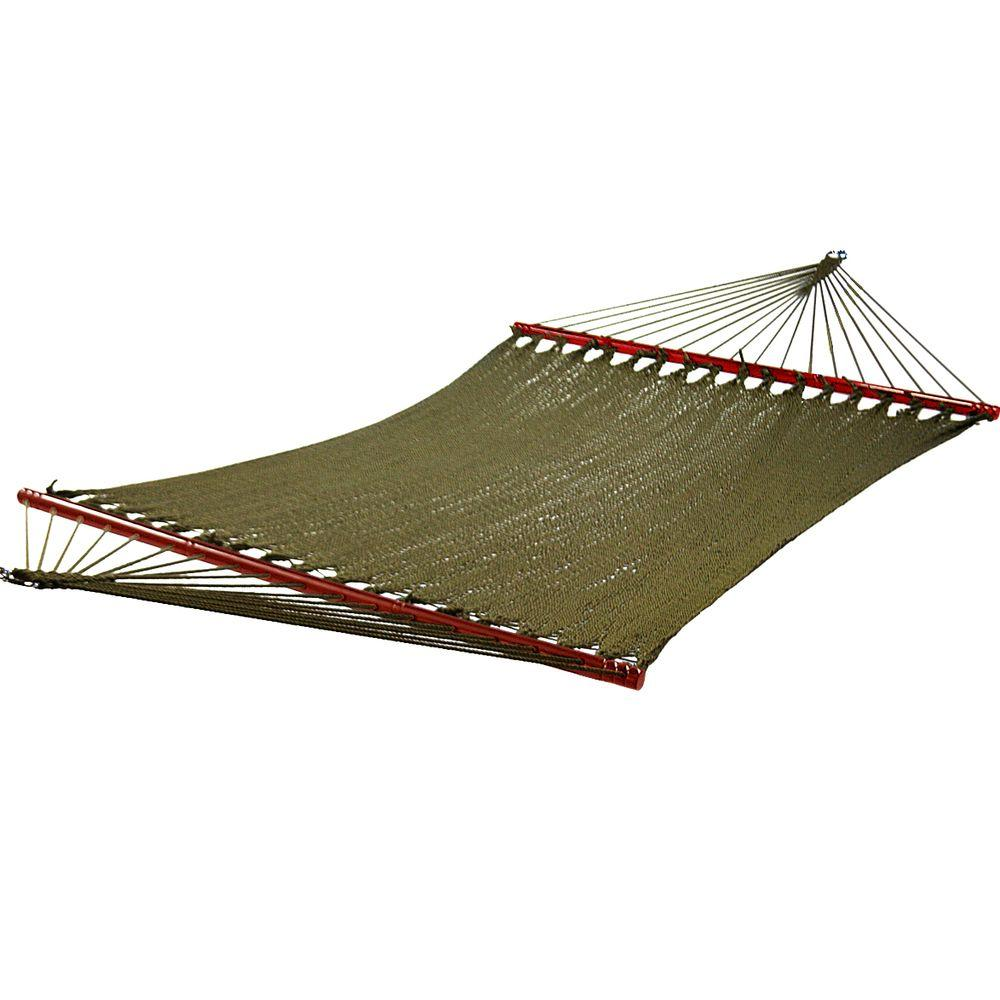 caribbean woven rope hammock in green algoma 13 ft  cotton rope hammock 4902c   the home depot  rh   homedepot