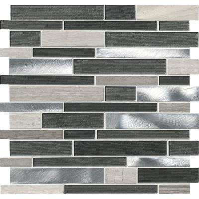 Urban Loft Interlocking 12 in. x 12 in. x 4 mm Glass Stone Metal Mesh-Mounted Mosaic Tile