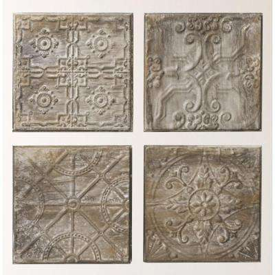 """12.5 in. H x 12.5 in. W """"Antiqued Tin Tiles"""" Wall Art (Set of 4)"""