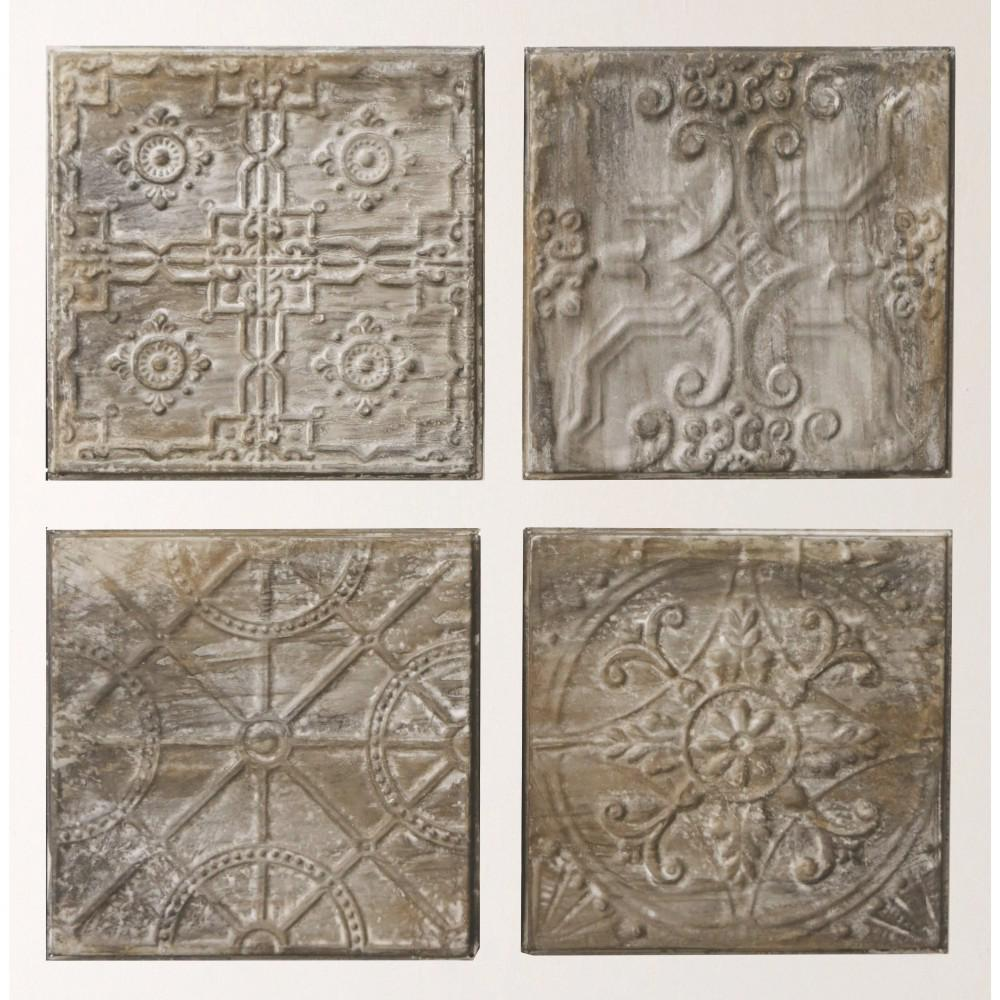 """3R Studios 12.5 in. H x 12.5 in. W """"Antiqued Tin Tiles"""" Wall Art (Set of 4)"""