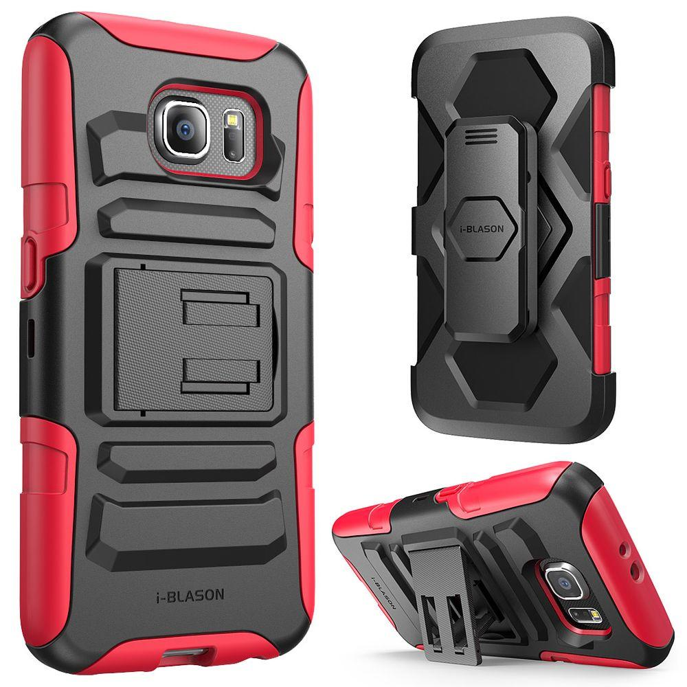 low priced 599b2 c0700 i-Blason Rugged Holster Case for Galaxy S6, Prime Red