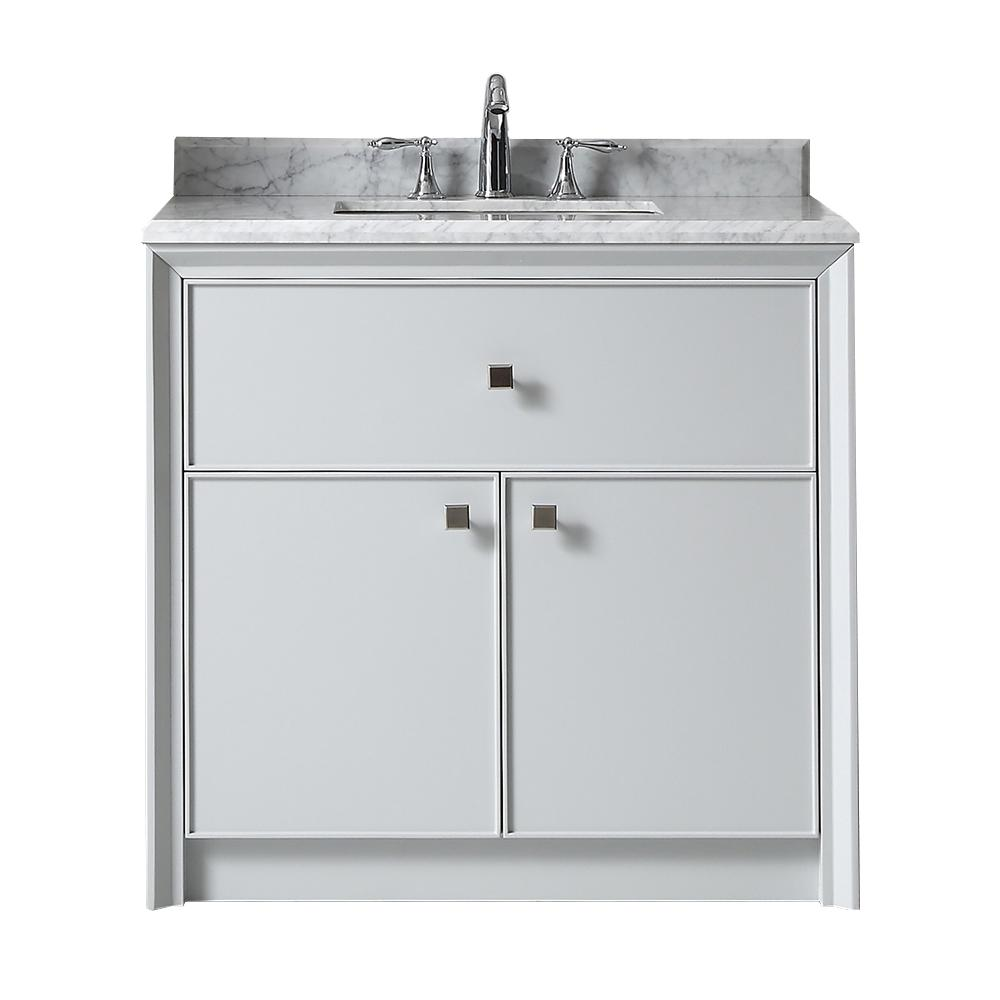 Martha Stewart Living Parrish 36 In W X 22 In D Bath Vanity In Dove Gray With Marble Top In