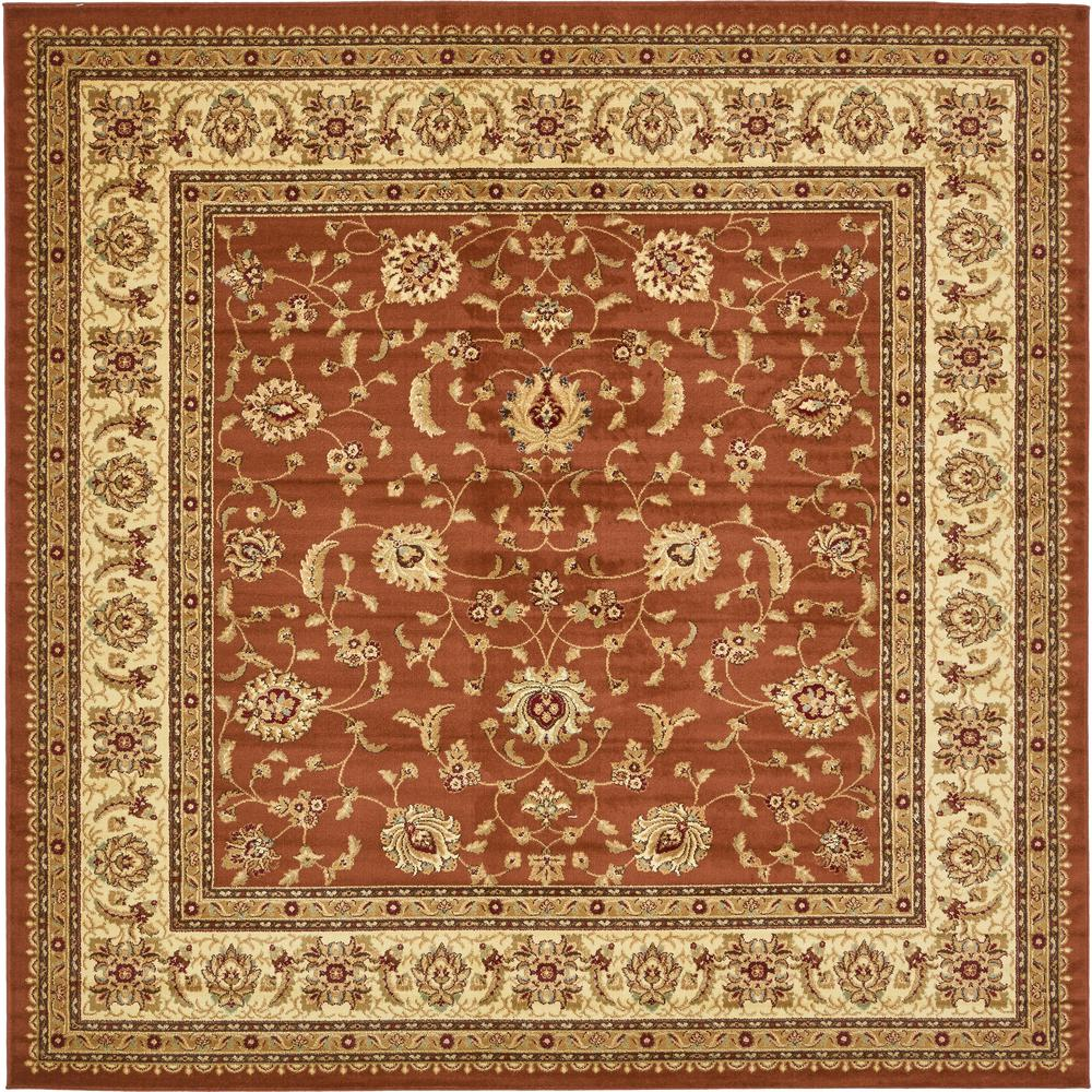unique loom agra brick red 10 ft x 10 ft square rug 3132933 the home depot. Black Bedroom Furniture Sets. Home Design Ideas