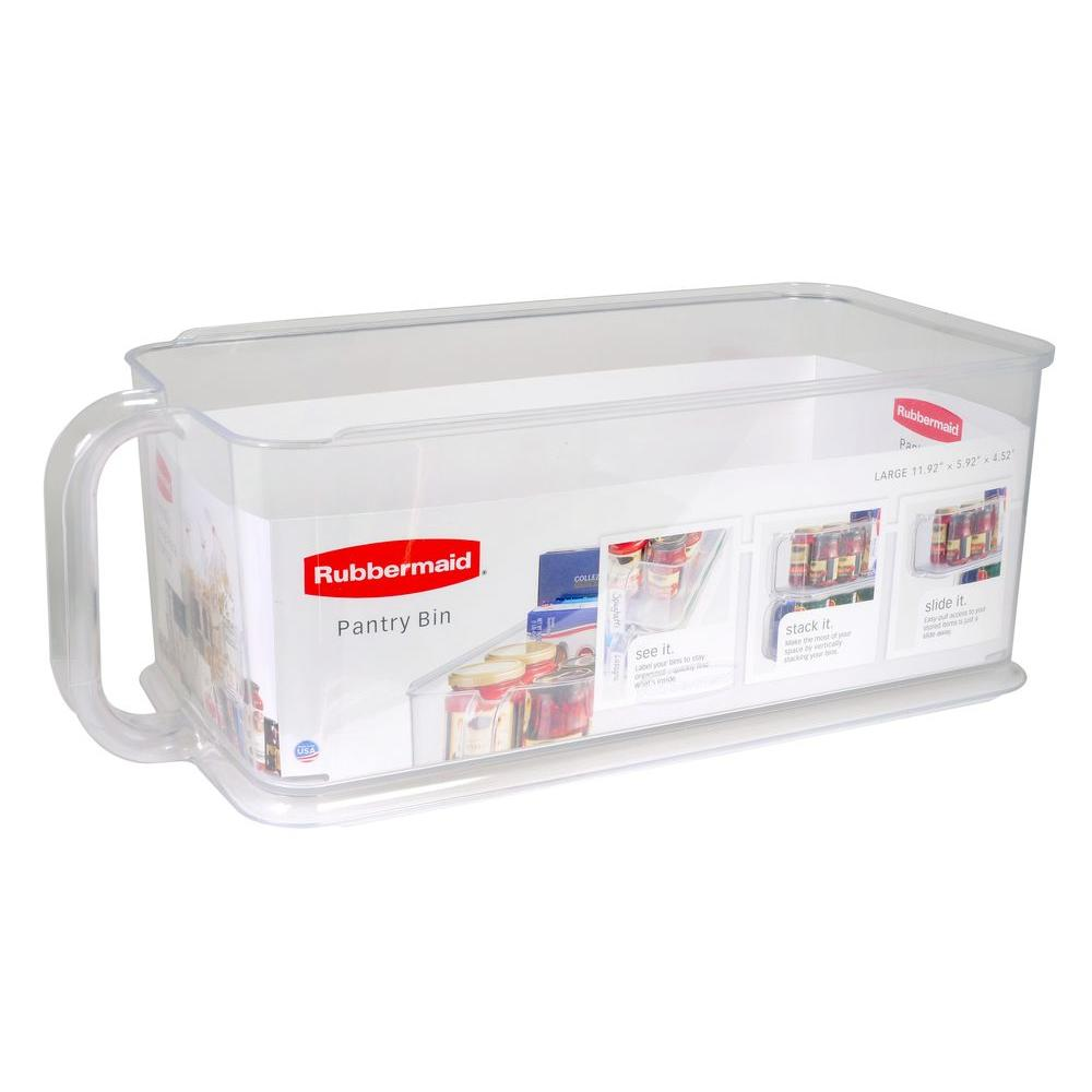 Rubbermaid Large Clear Plastic Pantry Bin-1951587 - The Home Depot