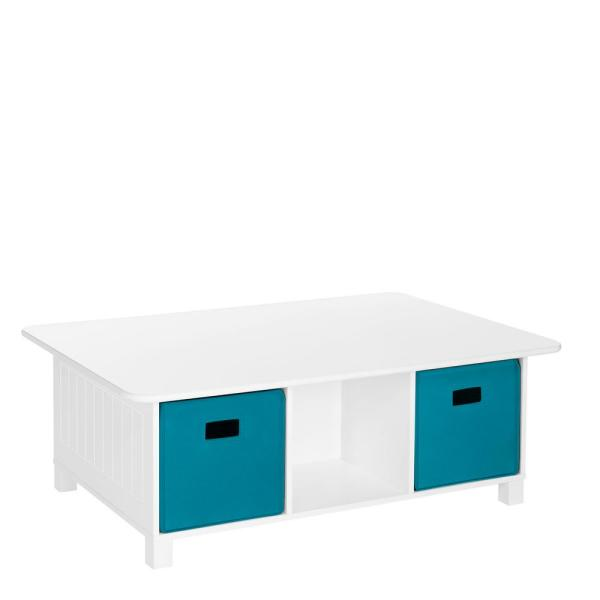 RiverRidge Home Kids White 6-Cubby Storage Activity Table with 2-Piece Turquoise