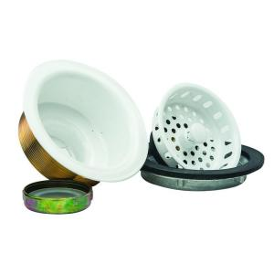 Brasscraft 3-1/2 inch Post Style Basket Strainer with Nut and Washer in White by BrassCraft