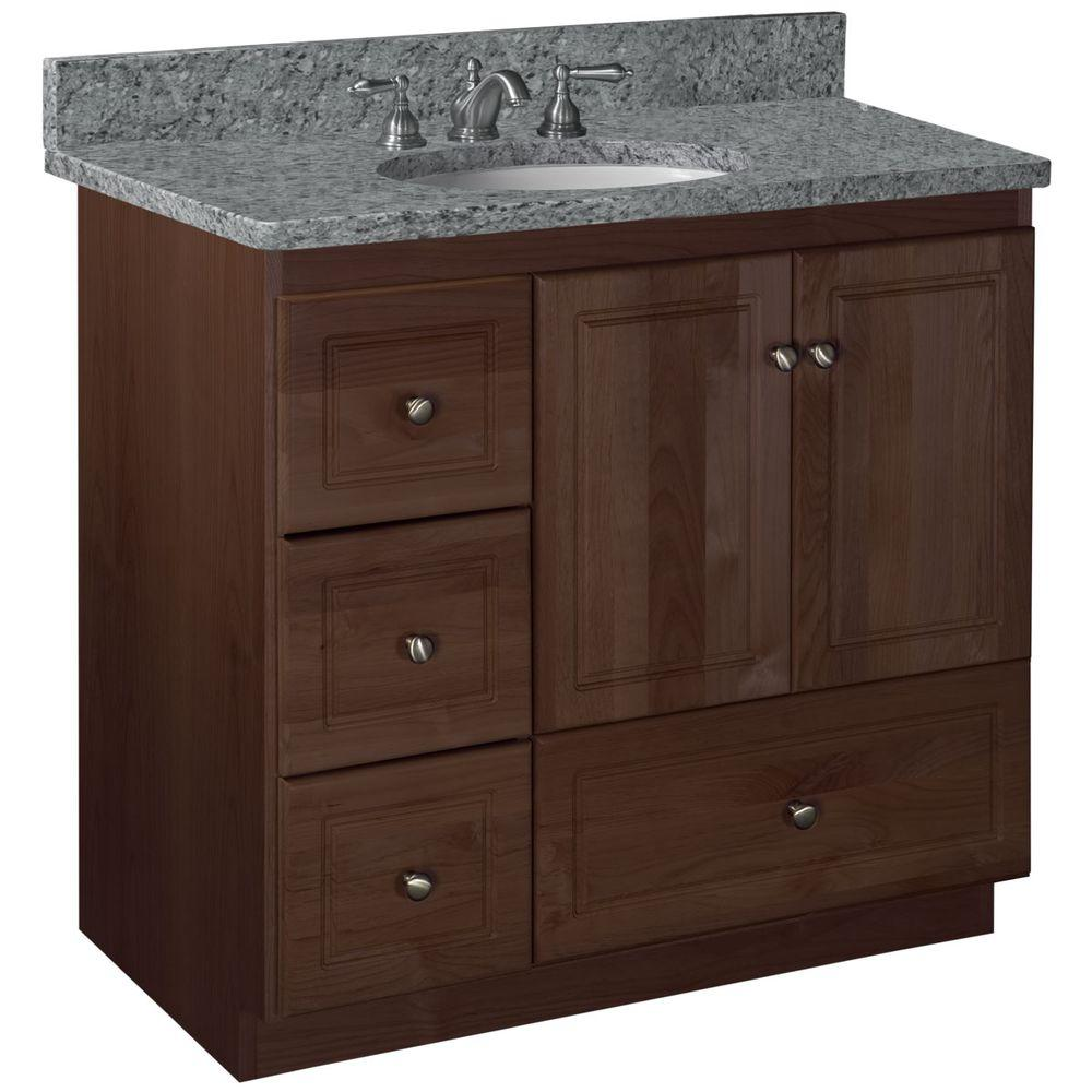Ultraline 36 in. W x 21 in. D x 34.5 in. H Vanity Cabinet Only with Left Drawers in Dark Alder