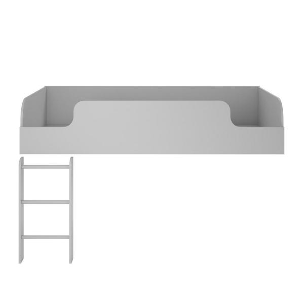 Ameriwood Home Elements Dove Gray Loft Bed with Bookcase and 3-Drawer Storage Organizer with Door