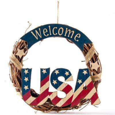 13.98 in. H Patriotic Welcome USA Rattan Wreath