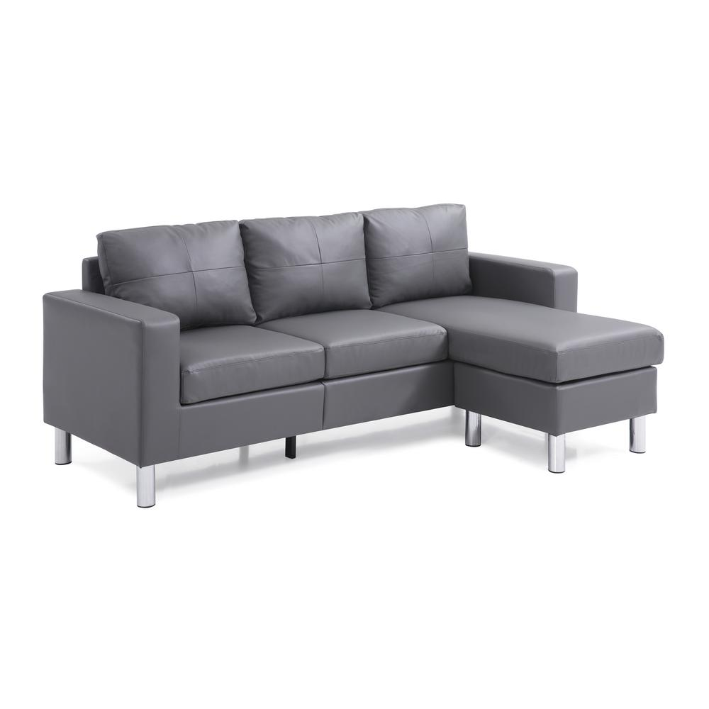 Gray Small E Convertible Sectional Sofa
