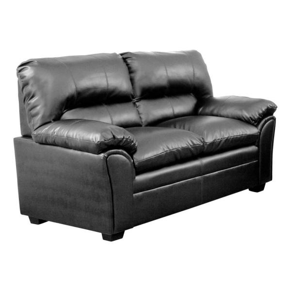 Bonded Leather Black Upholstered Love Seat with Padded Armrest