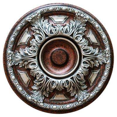 19 in. Silver Cup, Silver, Copper and Warm Silver, Polyurethane Hand Painted Ceiling Medallion