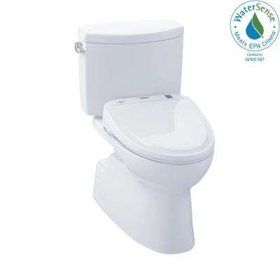 Vespin II Connect 2-Piece 1.28 GPF Elongated Toilet with Washlet S350e Bidet and CeFiOntect in Cotton White