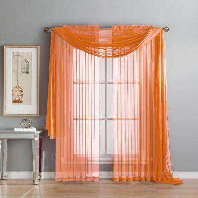 Diamond Sheer Voile 56 In W X 216 L Curtain Scarf Orange