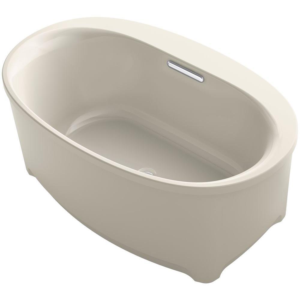 Underscore 5 ft. Acrylic Flat Bottom Non-Whirlpool Bathtub in Sandbar