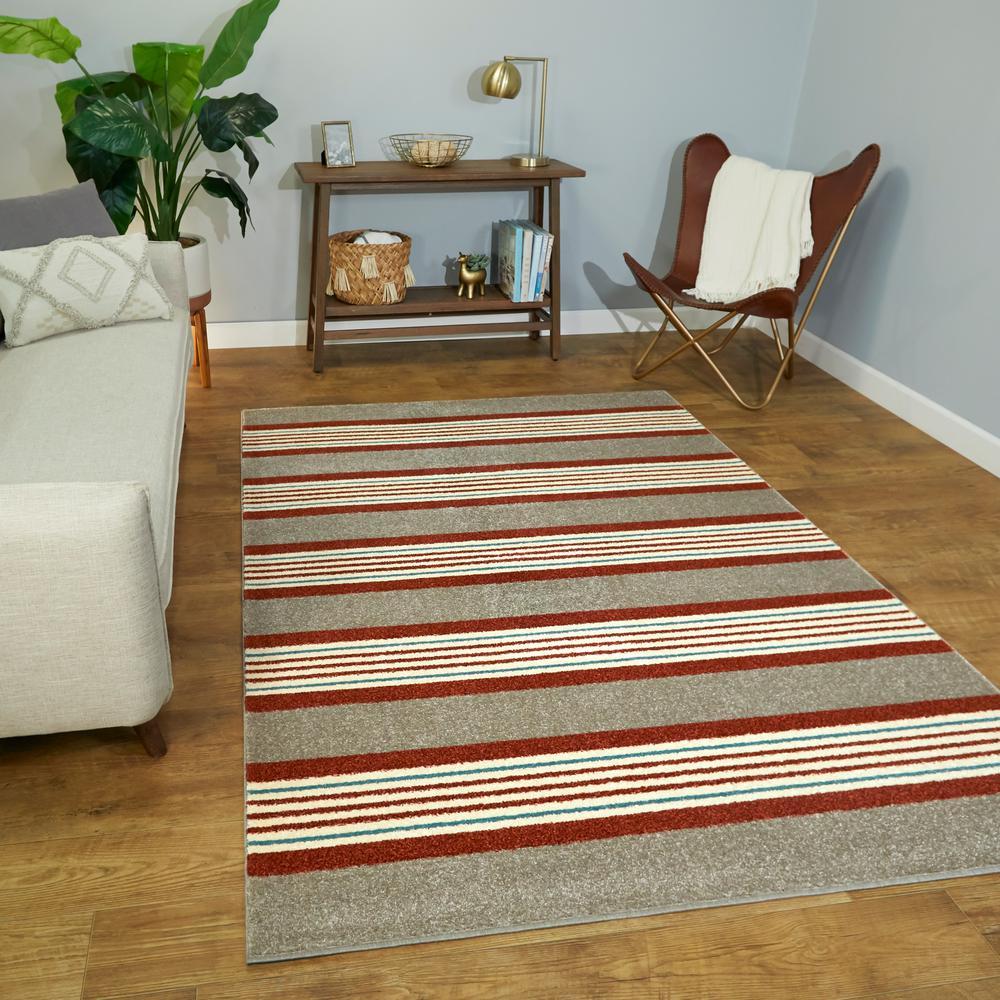 Leander Tan 8 ft. x 10 ft. Striped Area Rug