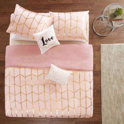 Khloe 5-Piece Blush/Gold King/California King Geometric Duvet Cover Set