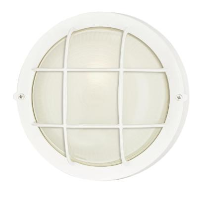 1-Light White Steel Exterior Wall Fixture with White Glass Lens